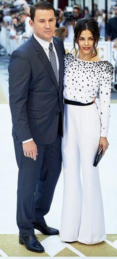 "Channing Tatum and Jenna Dewan-Tatum pose at the London premiere of ""Magic Mike XXL."""