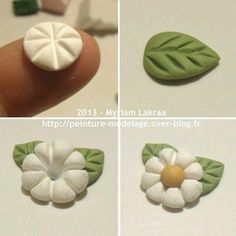 Myriam Lakraa Creations - Little Flower, Step by Step - Polymer Clay Fimo . - Myriam Lakraa Creations – Little Flower, Step by Step – Polymer Clay Fimo (Polymer Clay) – 20 - Polymer Clay Kunst, Fimo Clay, Polymer Clay Charms, Polymer Clay Projects, Clay Beads, Clay Crafts, Polymer Clay Jewelry, Polymer Clay Flowers, Clay Tutorials