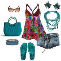 Sun dress with tourquoise flats & accessories