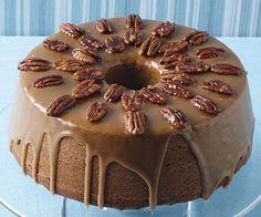 Pumpkin-Pecan Cake with Brown Sugar & Bourbon Glaze