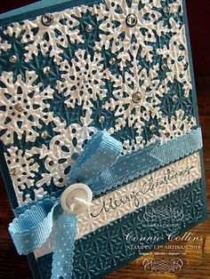 Paper Snowflake card idea  snowflakes embossed onto card base