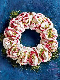 raspberry swirl pavlova wreath