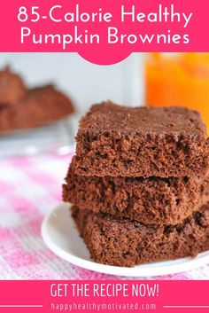 These healthy brownies are an amazing healthy dessert you can enjoy any time. They taste so good you'll never believe they're less than 100 calories each! #HappyHealthyMotivated #Healthy #Recipe #Food #Dessert #Brownies #HealthyRecipe #HealthyFood #HealthyDessert #HealthyBrownies #GF #GlutenFree #LowFODMAP #Chocolate #Pumpkin