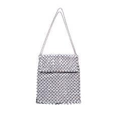Whiting and Davis Shiny Silver Metal Mesh Handbag
