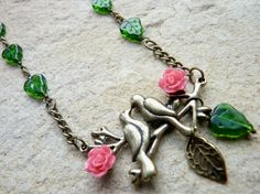 Vintage Style Necklace with Love Birds Pendant & by enchanted1974, £16.00