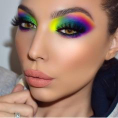 Obsessing over this rainbow look by ! She is wearing Gel Lip Pencil in shade Aria inspo artist… Baddie Makeup, Glam Makeup, Makeup Inspo, Eyeshadow Makeup, Makeup Inspiration, Face Makeup, Makeup Face Charts, Bright Eyeshadow, Makeup Cosmetics