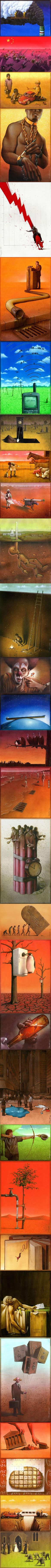 30 Satirical images created by Pawel Kuczynski. Like the one where they are painting the dark cloud of pollution white? #WOW http://9gag.com/gag/aNeX1d6?ref=t via @9GAG
