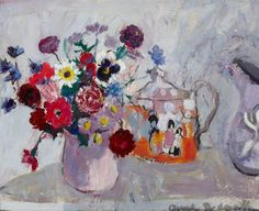 Still Life of Flowers and a Teapot by Anne Redpath