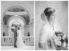 Bride in a modest lace wedding dress at the Utah State Capitol by wedding photographer Brooke Bakken
