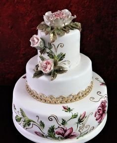 wedding roses - cake by mnamka_smizany Beautiful Wedding Cakes, Gorgeous Cakes, Pretty Cakes, Happy Birthday Bouquet, Bolo Floral, Indian Cake, Painted Wedding Cake, Wedding Dress Cake, Wedding Cake Roses