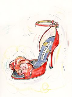 Fine Art PRINT  of Christian Lacroix shoes red by LauraAndrewArt