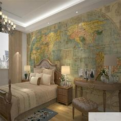 16.20$  Watch here - http://aliqfw.shopchina.info/go.php?t=32780015933 -  beibehang Map Of The World Retro Customized Brilliance Wall Paper Brick Walls Marble Floor 3d Wallpaper Painted Vintage Brick  #aliexpressideas