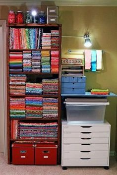 Pretty fabric storage - sewing room by isabelle
