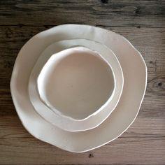 Ceramic dinner plates - White dinnerware plates ceramic bowl handmade tableware stoneware dishes dinnerware by Christiane & Pin by Blue Door Ceramics on Blue Door Ceramics by Christiane ...