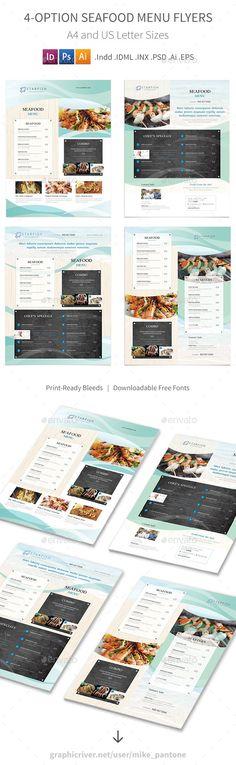 Seafood Restaurant Menu Flyers 2 – 4 Options - PSD, Vector EPS, InDesign INDD, AI Illustrator