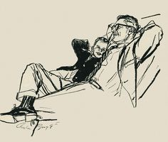 rogerwilkerson:    Father & Son Relaxing, art by Austin Briggs… have a great weekend folks!