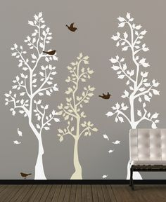 Vinyl Wall Sticker Decal Art  Spring Trees by urbanwalls on Etsy, $93.00. This would really brighten up our living room.