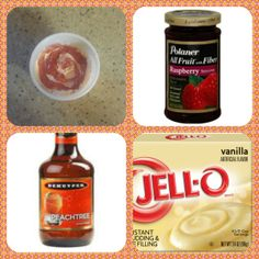 Peach Melba Pudding Shots 1 small Pkg. vanilla instant pudding 3/4 Cup Milk 3/4 Peach schnapps seedless raspberry jam 8oz tub Cool Whip  Directions 1. Whisk together the milk, liquor, and instant pudding mix in a bowl until combined. 2. Add cool whip a little at a time with whisk. 3.Spoon the pudding mixture into shot glasses, disposable shot cups or 1 or 2 ounce cups with lids.4. Add 1/2-1 tsp raspberry jam to each shot. Place in freezer for at least 2 hours