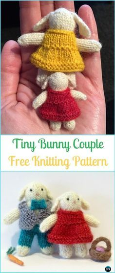 Amigurumi Tiny Bunny Couple Free Knitting Pattern - Amigurumi Knit Bunny Toy Softies Free Patterns