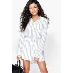 Boohoo Ada Striped Shirt Style Playsuit ($44) ❤ liked on Polyvore featuring jumpsuits, rompers, white, striped romper, party rompers, long-sleeve romper, striped rompers and striped jersey