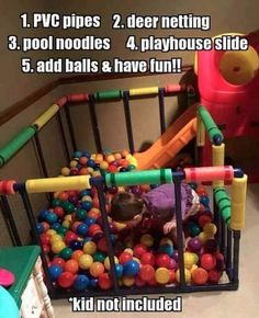 Put the final touches on your playroom by DIYing a ball pit. - Put the final touches on your playroom by DIYing a ball pit. Diy For Kids, Crafts For Kids, Kids Fun, Diy Crafts, Toy Rooms, Baby Kind, Diy Projects To Try, Cool Diy, Easy Diy