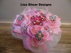 Stunning Pink Rose Wedding Bouquet Pearls Vintage Jewelry Brooches Bride OOAK #LisaShearDesignsHandmade