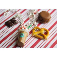 starbucks bracelet kawaii polymer clay charms miniature food jewelry... ($20) ❤ liked on Polyvore