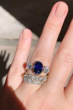 Vintage Sapphire Engagement Rings, Engagement Ring Styles, Antique Rings, Vintage Rings, Antique Jewelry, Diamonds And Gold, European Cut Diamonds, Sapphire Rings, Diamond Earrings