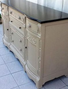 Buffet painted with Annie Sloan chalk paint~ Coco with clear wax and a ebony stained top! Like us on Facebook or follow us on Instagram Weathered to Treasured by Sandra Gensemer Esparza
