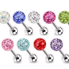 Clear Epoxy Crystal Ferido Ball TONGUE RINGS $8.90