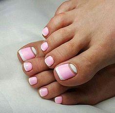 Easy And Adorable Summer Toe Nail Art designs Pink Toe Nails, Pretty Toe Nails, Cute Toe Nails, Summer Toe Nails, Feet Nails, French Toe Nails, Toenails, Pedicure Summer, Nail Pink