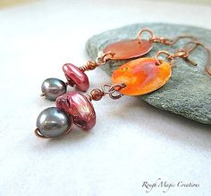 Pearls and Copper Long Boho Dangle Earrings by RoughMagicCreations on Etsy #bohostyle #pearls