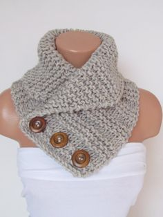 Items similar to Stone Hand Knitted Cowl Scarf With Wooden Buttons-Neck Warmer Winter Accessories,Fall Fashion.Holiday Accossories,Chunky Scarf on Etsy Knitting ProjectsKnitting HumorCrochet ProjectsCrochet Ideas Diy Crafts Knitting, Easy Knitting, Loom Knitting, Knitting Tutorials, Cowl Scarf, Knit Cowl, Knit Or Crochet, Crochet Scarves, Crochet Granny