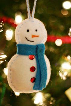 adorno de fieltro para rbol de navidad con forma de mueco de nieve
