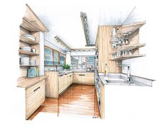 Interior Design Sketches Kitchen kitchen concept rendering | sketchbook: interior design