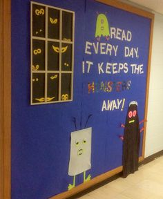 #halloween library bulletin board, #read every day it keeps the monsters away, #elementary school library, #books, #reading,#library displays