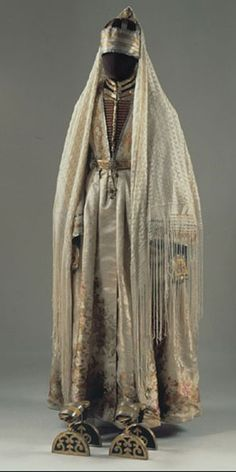 Noblewoman's Ensemble Kabardian People Northwest Caucasus, Russia 1880 Russian Museum of Ethnography Traditional Fashion, Traditional Dresses, Historical Costume, Historical Clothing, Ethno Style, Period Outfit, Fantasy Costumes, Russian Fashion, Folk Costume