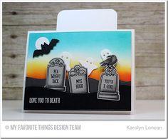 Grave Situation Stamp Set and Die-namics, Frightful Friends Stamp Set, Slider Channel Builder Die-namics, Surf & Turf Die-namics, Spooky Scene Die-namics, Blueprints 15 Die-namics, Blueprints 24 Die-namics - Karolyn Loncon  #mftstamps