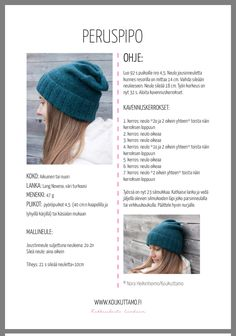 Pipo Small Knitting Projects, Sewing Projects, Crochet Chart, Knit Crochet, Knitting Patterns, Crochet Patterns, Diy Upcycling, Handicraft, Pom Pom Hat