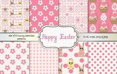 Cute Easter pattern set by Gaynor Carradice Designs on @creativemarket