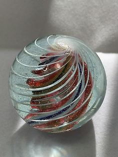 Large Antique German Banded Caged Divided Core Swirl Glass Marble Pontil Marks