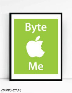 Byte Me Art Print For Geeks Wall Art by TalkingPictures on Etsy