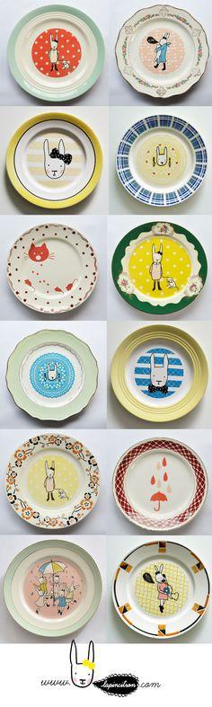 série d'assiettes vintage émaillées Lapincitron