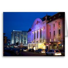 Shop Wiener Konzerthaus At Night created by EMangl. Vienna Austria, Travel Memories, Night Lights, Custom Greeting Cards, Paper Design, Destinations, Mansions, Landscape, Live