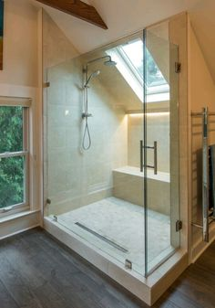 What to do with all those roof angles? Huge walkin shower! ~Houzz.com