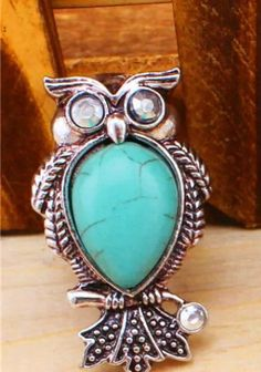 Turquoise Owl Silver Ring Fashion Owl Jewelry by Boutiqueofthings Owl Jewelry, Trendy Jewelry, Owl Ring, Vintage Earrings, Fashion Rings, Turquoise Bracelet, Silver Rings, Bracelets, Fashion Jewelry