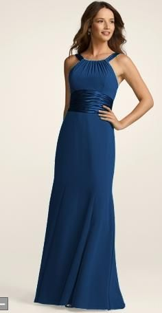 The Bridesmaids' Dress!    Chiffon and Charmeuse Dress with Rounded Neckline Style F12732   Color: Marine  David's Bridal
