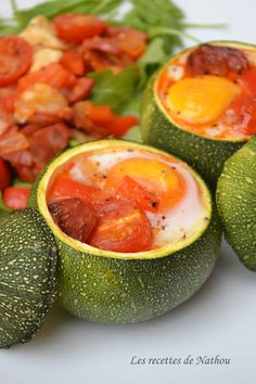 Les recettes de Nathou: Courgettes rondes farcies aux oeufs, tomates, poivrons et chorizo