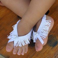 Fringe Baby Sandals White Sandals White Barefoot by AllBabyGirls