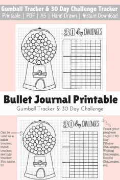 I love using my bullet journal to keep track of my new habits and doing 30 day challenges. The printable Gumball tracker is great for tracking anything you want! Habits, workouts, savings, debt snowball. #bulletjournal #ad #habittracker #gumballtracker #printable